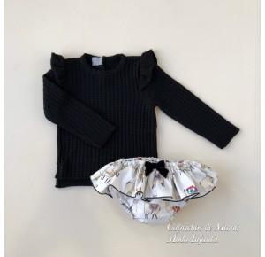 Conjunto niña jersey y braguita Llamas de Mon Petit