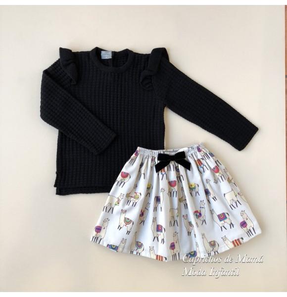 Conjunto niña jersey y falda Llamas de Mon Petit