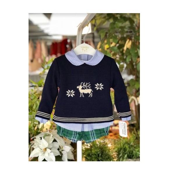 Conjunto bebé niño de Valentina Bebés escocés verde