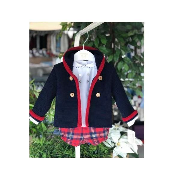 Conjunto bebé niño de Valentina Bebés escocés rojo