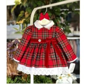 Jesusito bebé niña de Valentina Bebés tartán rojo