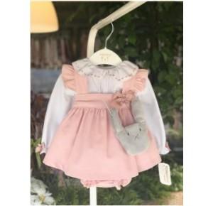 Conjunto bebé niña de Valentina Bebés pichi rosa