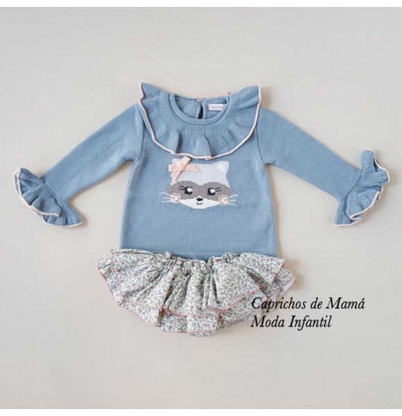Conjunto niña jersey y braguita de Coccó Rose mapache