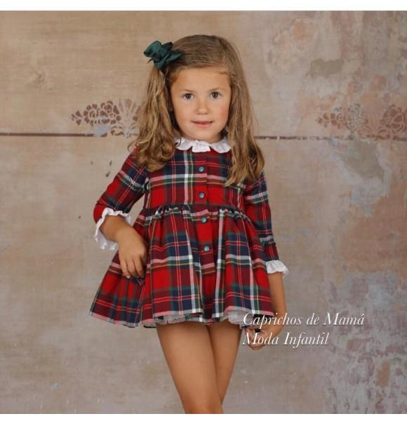 Vestido niña de Lapeppa cuadro escocés rojo