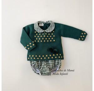 Conjunto bebé niño Desierto de Lolittos verde botella