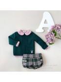 Conjunto bebé niño Anna de Eva Castro rosa y verde