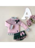 Conjunto niña Anna de Eva Castro rosa y verde