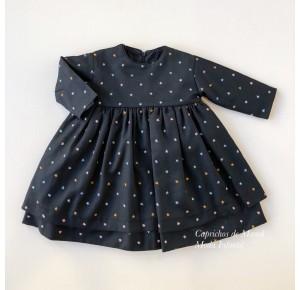 Vestido niña de Mía y Lía negro estrellas