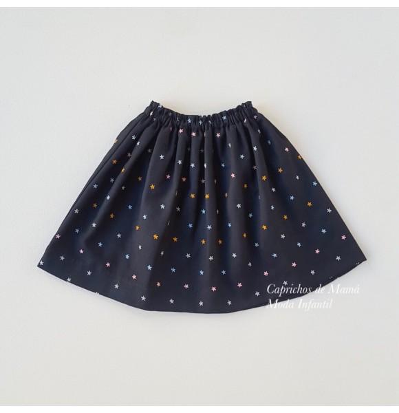Falda niña de Mía y Lía negra estrellas