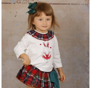Conjunto bebé niña de Lapeppa braguita tartán rojo
