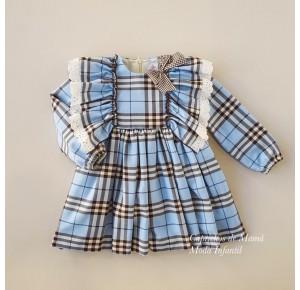 Vestido niña Justine de Eva Castro azul cuadros