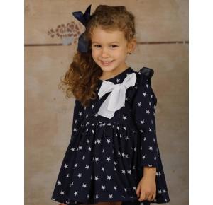 Vestido niña de Lapeppa azul marino estrellas