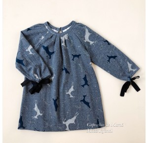 Vestido niña de Mía y Lía ciervos azul