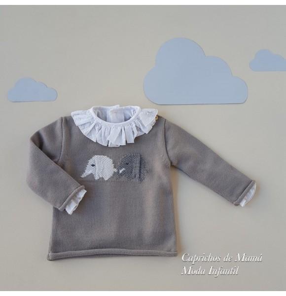 Jersey bebé de Rosita punto gris elefantes