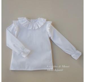 Camiseta niña de Baby Yiro blanca con volantes sisa