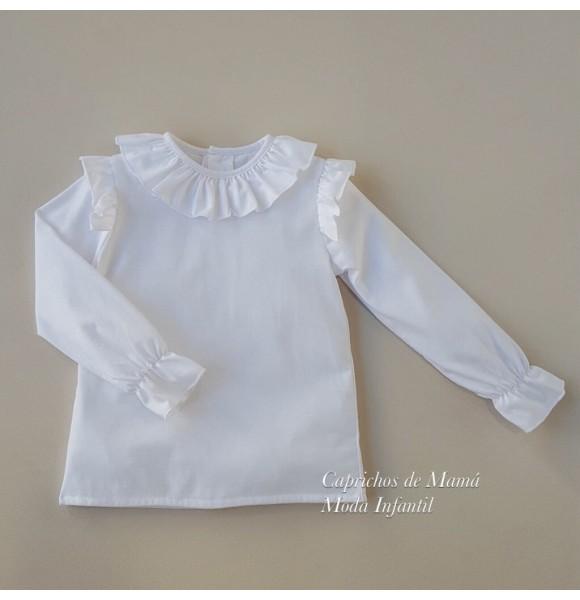 18f3a877b Camiseta niña de Baby Yiro blanca con volantes sisa