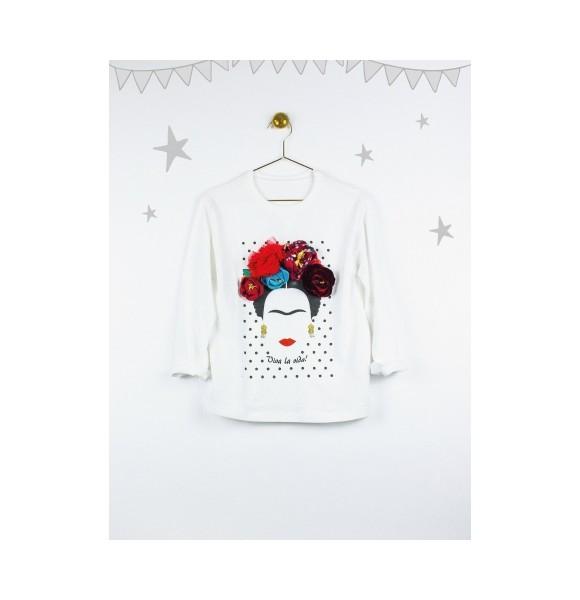 Camiseta niña Frida de Lunares en Mayo blanca