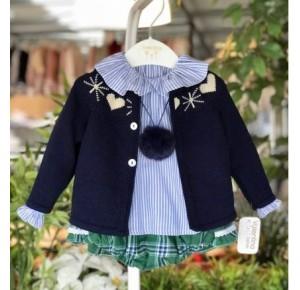 Conjunto bombacho bebé niña de Valentina escocés verde