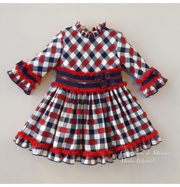 Vestido niña Rudolph de Lolittos marino y rojo
