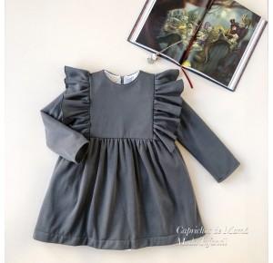 Vestido niña de Mía y Lía felpa gris