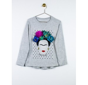 Camiseta niña Frida de Lunares en Mayo gris