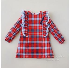 Vestido niña Hadas de Yoedu tartán rojo