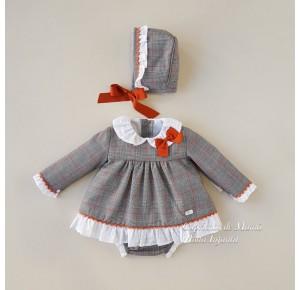 Jesusito bebé niña Beatrix de Yoedu gris y calabaza