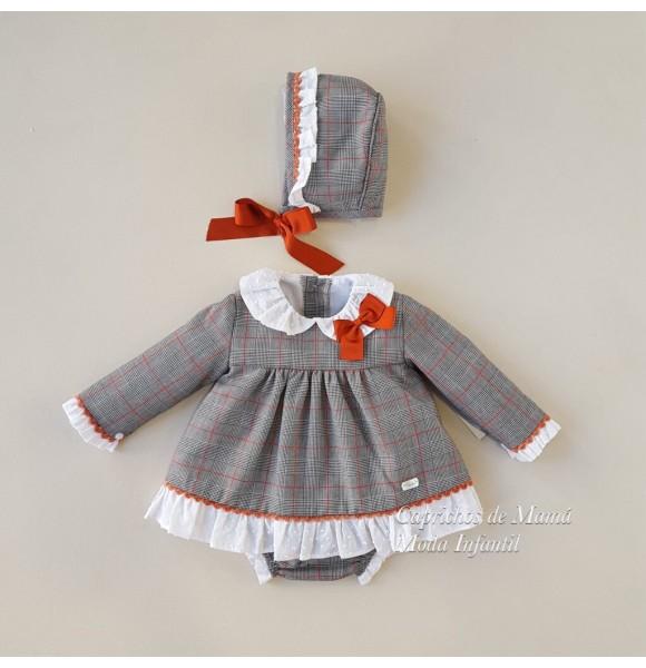 741fe8634 Jesusito bebé niña Beatrix de Yoedu gris y calabaza | Ropa Infantil