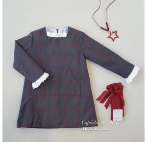 Vestido niña de Baby Yiro gris a cuadros