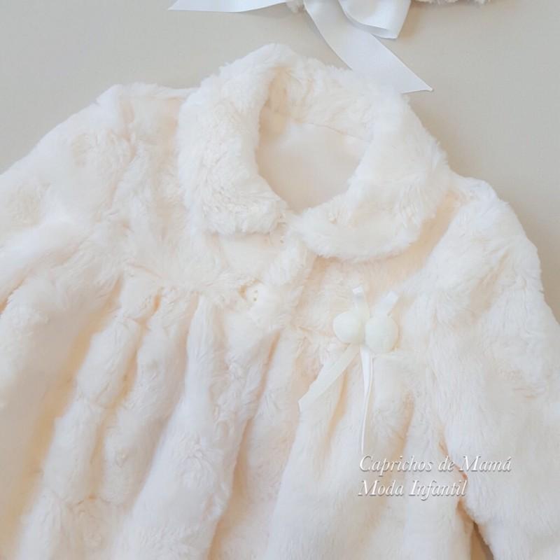 Abrigo bebé niña de Yoedu de pelo con capota b2f145822f5