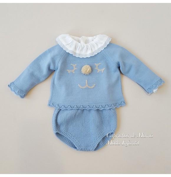 ecd1489e512 Conjunto bebé niño Duendes de Yoedu ranita punto azul