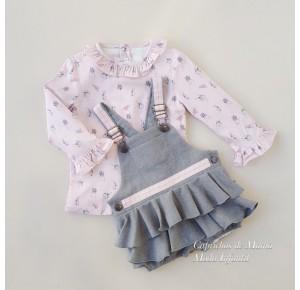Conjunto niña camisa y peto Nube de Badum Badero gris