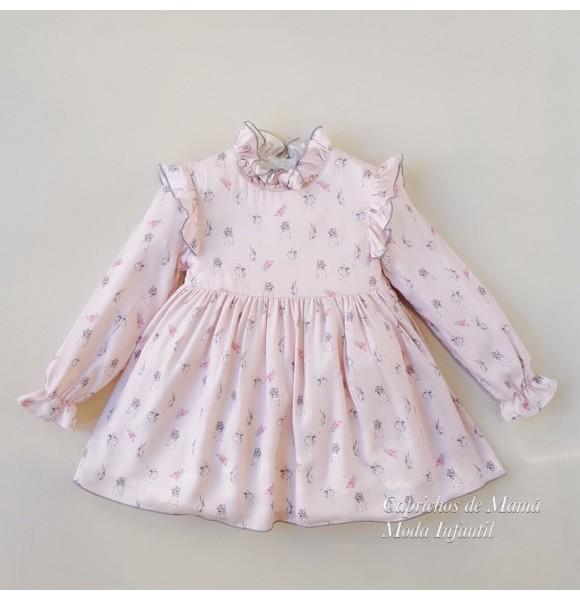 Vestido niña Nube de Badum Badero rosa conejitos