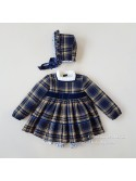 Conjunto bebé niño Leonor de Eva Castro mostaza y azul