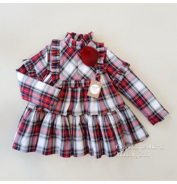 a52e64d56 Vestido niña Faro de Noma Fernández cuadro rojo