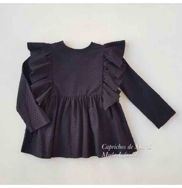 Camisa niña de Mía y Lía plumeti volantes