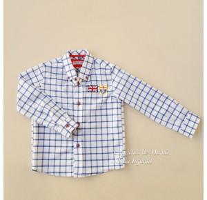 Camisa niño Burgos de Nachete cuadros blanco y azul