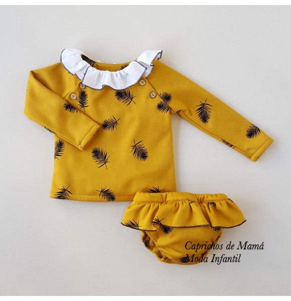 Conjunto niña de Baby Yiro plumas mostaza