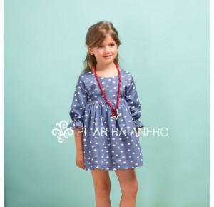 Vestido niña Coronas de Pilar Batanero azul