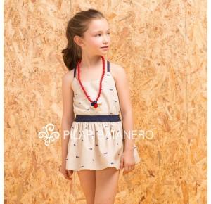 Conjunto niña camisa y falda Raspas de Pilar Batanero