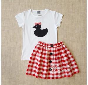 Conjunto niña de Mon Petit falda cuadros rojo