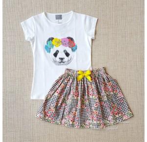 Conjunto niña de Mon Petit falda vichy negro y flores