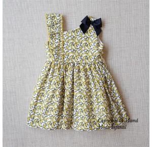 Vestido niña de Mon Petit estampado plátanos