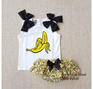 Conjunto niña de Mon Petit estampado plátanos