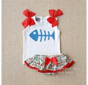 Conjunto niña de Mon Petit braguita estampado peces