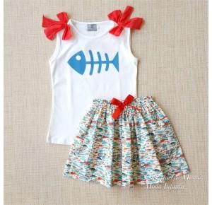 Conjunto niña de Mon Petit falda estampado peces