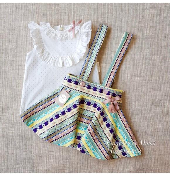 6c26a81a2 Conjunto niña Verona de Noma Fernández blusa y falda