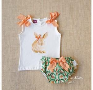 Conjunto niña de Nini braguita conejos verde