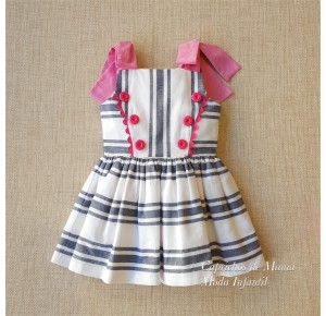 Vestido niña de Nini rayas blanco y azul con rosa