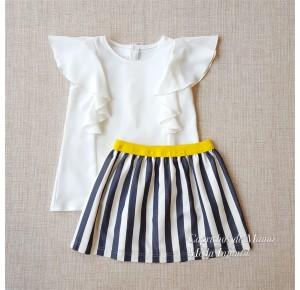 Conjunto niña blusa y falda de Pilar Batanero rayas